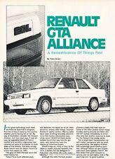 1987 Renault GTA Alliance Original Car Review Print Article J631
