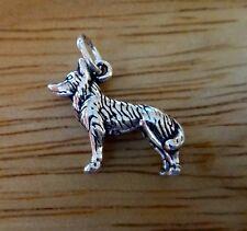 Sterling Silver 14x17mm 3D German Shepherd Husky Malamute Dog Charm