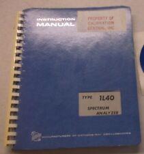 TEKTRONIX TYPE 1L40 SPECTRUM ANALYZER INSTRUCTION MANUAL 070-0904-00