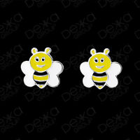 Genuine 925 Sterling Silver Bee Stud Earrings  Mini Studs Girls Children