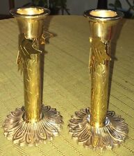 """Set of 2 5"""" Solid Brass Candle Holders with Leaf Accents Charming"""