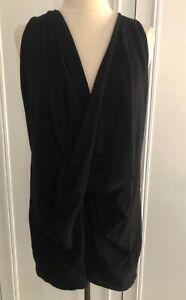 DONNA KARAN Black Label Collection Draped 100% Cashmere Sweater M EC