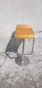 Classic Lapalma LEM Bar Stools with light oak seats and matt chromed frame