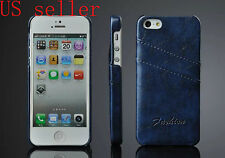 LUXURY LEATHER BACK CASE WITH TWO CARD SLOT FOR APPLE IPHONE 5 5S 5G USA