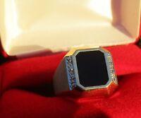 10K Yellow Gold Diamond & Onyx Statement GENTS Ring NEW USA