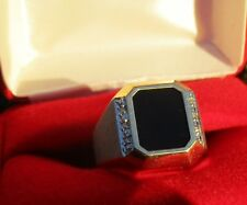 10k Yellow Gold Black Onyx and Diamond Statement GENTS Ring Satin Finish NEW USA