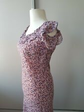 Vintage Laura Ashley Ditsy Ruffled neckline and Sleeve Dress Size 10 petite