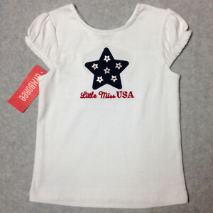 Gymboree LITTLE MISS USA Girls Size 4T Shirt White Cotton Knit Star T-Shirt NWT