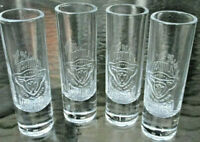BRAND NEW SET OF 4 CORRALEJO TEQUILA TALL CLEAR EMBOSSED 60ML SHOT GLASS -