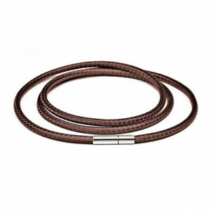 Necklace Black Leather Cord Wax Rope Lace Chain Stainless Steel Buckle DIY