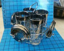 Vintage KIMIKO Glass Set 4 Tall Tumblers Silver Shield 4 Coasters w/ Chrome Rack