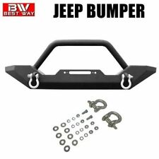 FITS 87-06 JEEP TJ/YJ TEXTURED BLACK FRONT BUMPER ROCK CRAWLER W/WINCH PLATE