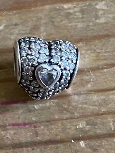 Pandora Heart Charm With Cubic Zirconia Stones