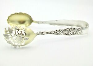 Antique Knowles Sterling Silver Bug aka Rose Serving Ice Tongs 1881 Aesthetic