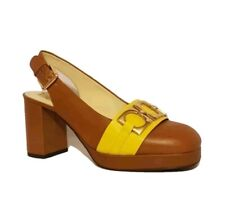 CLARKS ORLA KIELY BEATRICE TAN BROWN LEATHER SLINGBACKS COURT SHOES HEELS