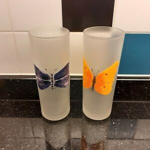 2 x Dartington Frosted Tumblers with Butterfly's (Pair 2)
