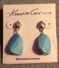 Kenneth Cole New York Sliver Tone Faceted Stone Drop Pierced Earrings NWT