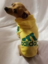 Adidog Yellow Hoodie Small Dog Clothes Pet Coat New Warm Sweater Sweatshirt NIP