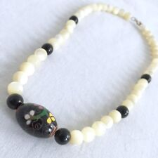 Vtg Mother Of Pearl Black Onyx Gold Necklace Choker Hand Painted Beaded 1920s 8""