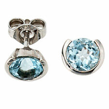 Studs Earrings With Blue Topaz & Diamonds, 333 White Gold, Ladies
