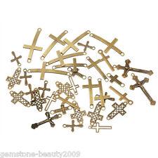 GB 20PCs Bronze Tone Mixed Cross Pendant Connector Fit Bracelet Necklace Fashion