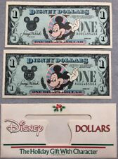 2 CONSECUTIVE 1989 DISNEY DOLLARS - Mickey UNCIRC. A00145549/50A, Envelope Too!