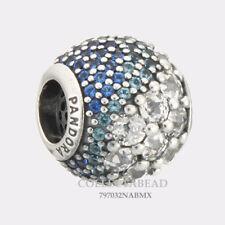 Authentic Pandora Silver Blue Enchanted Pavé Blue CZ Bead 797032NABMX
