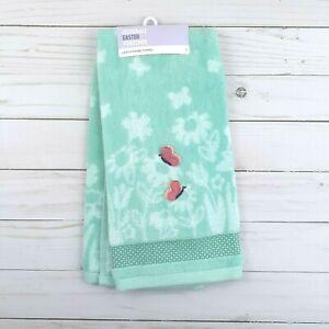 Guest Bath Hand Towel Flowers Buttrflies Green Terry Cloth