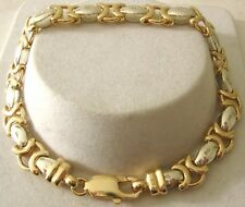 GENUINE SOLID 9ct YELLOW and WHITE GOLD TWO TONE HUGS and KISSES BRACELET