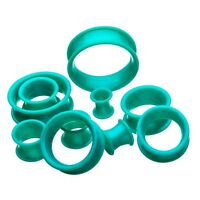 PAIR - THICK WALL TEAL GREEN SILICONE EAR TUNNELS PLUGS DOUBLE FLARED GAUGES