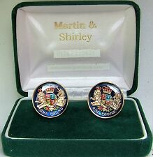 LAST Circulating Round UK £1 Cufflinks real coins in Blue & Gold & colours
