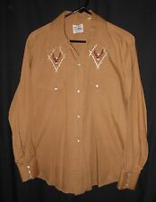 Vtg. 60's 70's Western Shirt Pearl Snap Fancy Embroidery Rockabilly Rodeo Medium