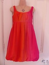 Principles Petite size 10 short puffball/bubble silk dress pink, orange etc.