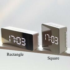 Mirror LED Alarm Clock Night Lights Thermometer Digital Wall Clock LED Lamp