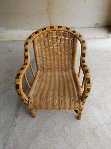 Vintage Ancienne Petite Chaise Enfant/Poupée en Osier Rotin Déco Chambre Maison