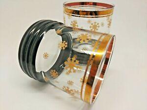 Vintage Bar Lowball Rocks Glasses Winter Snowflake Gold Trim Set 2 Mid Century