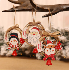 3pcs Wooden Santa Mini Hanging Pendant Christmas Tree Decoration for Home