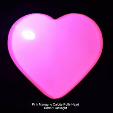 Charged Fluorescent Pink Mangano Calcite Crystal Puffy Heart / Palm Stone