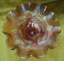 "EAPG Beautiful Dugan Cherry Marigold Carnival Glass Footed Ruffled Bowl 8"""