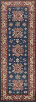 Geometric Super Kazak Vegetable Dye Hand-knotted Oriental Runner Rug Wool 3'x8'