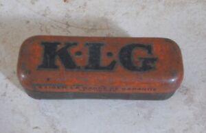 Ancienne boite Métal Tole KLG Bougies orange vintage garage Automobilia #4