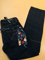 DEELOW VINTAGE STYLE DARK BLUE DENIM JEANS MEN SIZE SMALL w28 L32