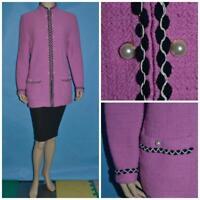 St. John Collection Pink Jacket L 10 12 Suit Blazer Black Cream Trims Buttons