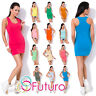 Womens Summer Casual Vest Tank Top Plain Boxer T-Shirt One Size 8 - 12 FT1003