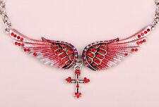 Angel wing cross choker necklace women biker fashion jewelry silver red NC01