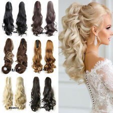 Natural Claw Clip On Ponytail Thick Wavy Curly Clip In Pony Tail Hair Extensions