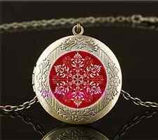 Vintage Red Elegant Snowflake Cabochon Glass Brass Locket Pendant Necklace