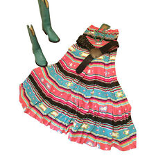 Southwest Country Western Cowgirl Dress Women L Vintage Aztec Strapless Casual