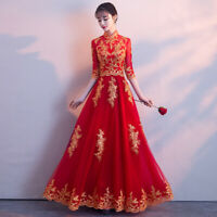Womens Cheongsam Wedding Bride Embroidery Chinese Long Prom Slim Dress Ball Gown