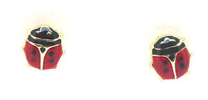 9ct Yellow Gold Tiny Ladybird Stud Earrings with Enamel                     3442